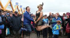 "RTÉ's Marty Morrissey and Anna Geary, of ""Dancing With The Stars"", do the Charleston at the National Dairy Council stand at the National Ploughing Championships. Picture: Robbie Reynolds"
