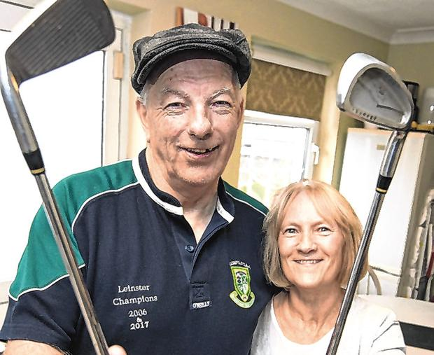 Back in the swing: Tom O'Riordan with his wife Irene at their Kildare home. Photo: COLIN O'RIORDAN