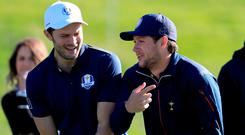 Losing side: Jamie Dornan (left) and Niall Horan (right) during the 2018 Ryder Cup Celebrity Match at Le Golf National, Paris. Photo: PA