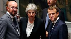 Leaders: British Prime Minister Theresa May flanked by Belgian Prime Minister Charles Michel (left) and French President Emmanuel Macron at the UN. Picture: Getty