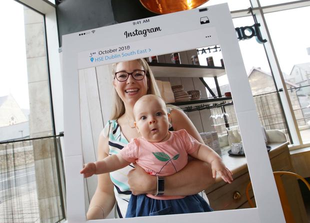 Gift grub: Emily Collins and daughter Ava take part in the community event organised to celebrate south east Dublin having the highest breastfeeding rates in Ireland. Photo: Photocall Ireland