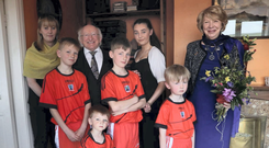 Emma Mhic Mhathúna and her children met President Michael D Higgins and his wife Sabina earlier this year