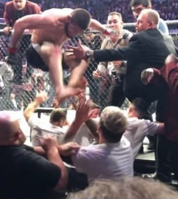 Leap of shame: The antics at the end of the contest have brought the sport of MMA to a new low