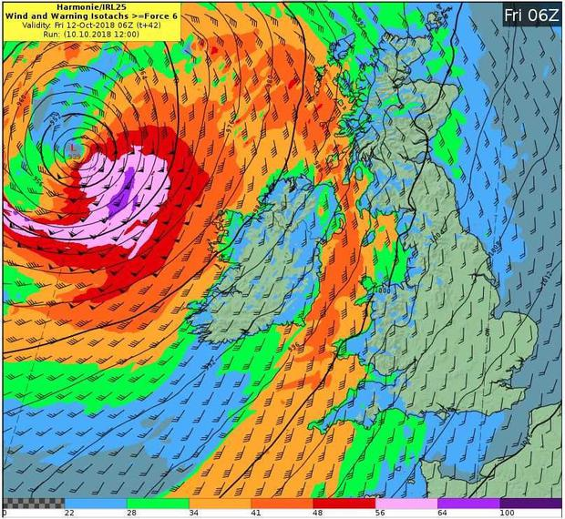 Chart showing the impact Storm Callum will have on all Irish coastal regions at 7am tomorrow. Areas of high wind speeds are coloured green and orange. The area in red, well off the west coast, will have the strongest winds. image: Met Éireann
