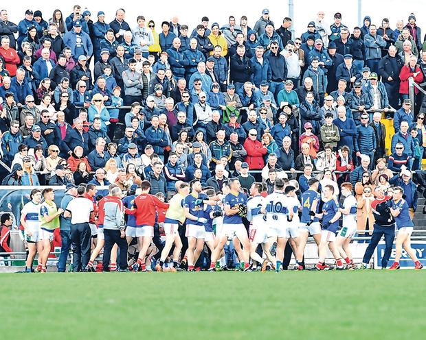 Ugly encounter: The two teams clash during the melee as Dingle and East Kerry met at Austin Stack Park on Sunday. Photo: Domnick Walsh