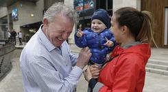 All smiles: Peter Casey jokes with Olga Mahon, from Rathmines, and her son Roman (10 months). Photo: Damien Eagers