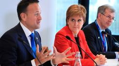 State talks: Taoiseach Leo Varadkar, First Minister of Scotland Nicola Sturgeon and Chief Minister of Jersey John Le Fondre at the British-Irish Council's summit on the Isle of Man. Photo: PA
