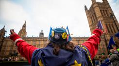 Hard sell: An anti-Brexit protester outside the Houses of Parliament in London yesterday. Photo: Chris Ratcliffe/Bloomberg