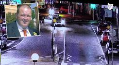 CCTV footage shows an Audi with the door open coming down Castleblayney main street Inset: Stephen Marron was killed in the incident