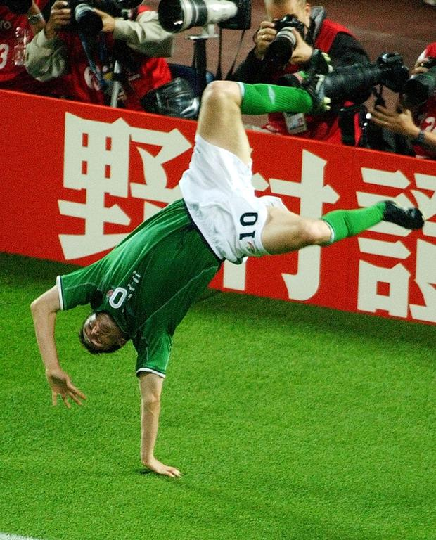 Cartwheel: Robbie Keane celebrates after scoring for Ireland against Germany in the 2002 World Cup. Photo: AP