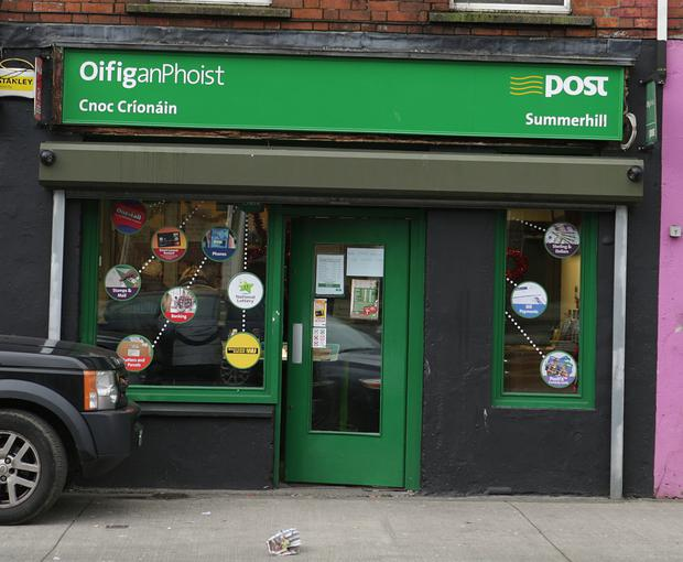 The post office in Summerhill, Dublin, where the elderly woman took out her money before the theft. Photo: Damien Eagers