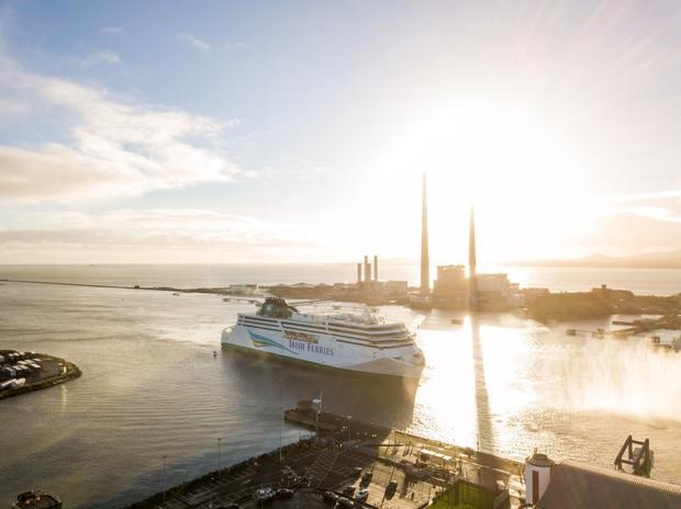 Huge: The €150m WB Yeats arrives at Dublin Port. It can accommodate 1,800 passengers.