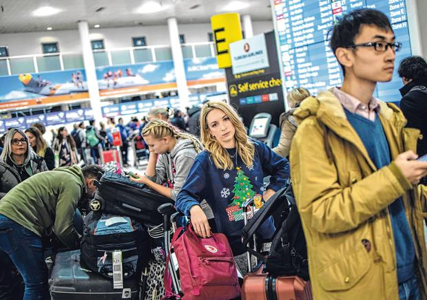 No fly zone: Passengers caught in the Gatwick chaos wait for more information. Picture: Getty