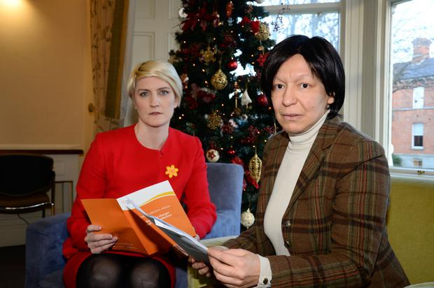 Campaign: Averil Power (left), chief executive of the Irish Cancer Society, and breast cancer sufferer Lea Hearst. Picture: Justin Farrelly