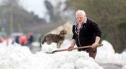 Billy Cardiff with Duke the dog as he clears the road outside his home in Taghmon, Co Wexford, following Storm Emma. PHOTO: GERRY MOONEY