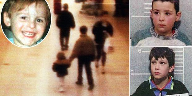 MONSTROUS AND INHUMAN: Two-year-old James Bulger (inset) is led to his death by Jon Venables and Robert Thompson