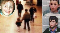Two-year-old James Bulger (inset) is led to his death by Jon Venables and Robert Thompson