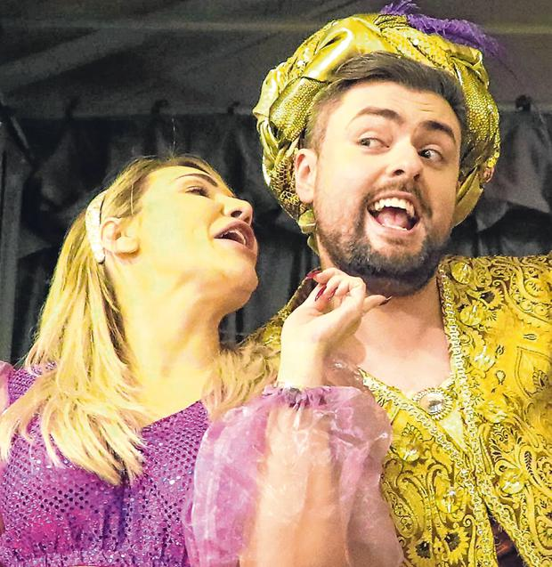 Lucky: James Patrice and Erin McGregor perform in a panto at Dublin Presentation Primary, Terenure. Photo: Colin Keegan, Collins