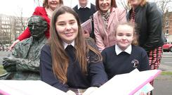 Links: Fiona Hyslop, Scottish cabinet secretary for culture (left) and Culture Minister Josepha Madigan with Aidan Kiernan, Chloe Devlin and Megan Rodgers, all aged 15, and Susan Kirby, CEO of St Patrick's Festival (right).