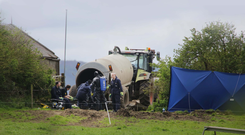 The scene at the farm in Fawnagowan outside Tipperary town where the body of Bobby Ryan was discovered. Picture: Brian Gavin/Press 22