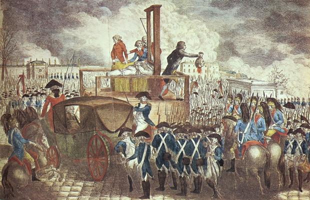 An engraving of the execution of Louis XVI