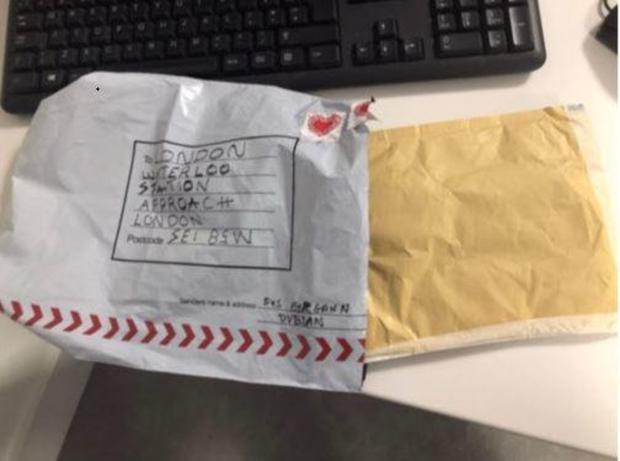 Two of the packages which contained the letter bombs (above), with Dublin postmarks