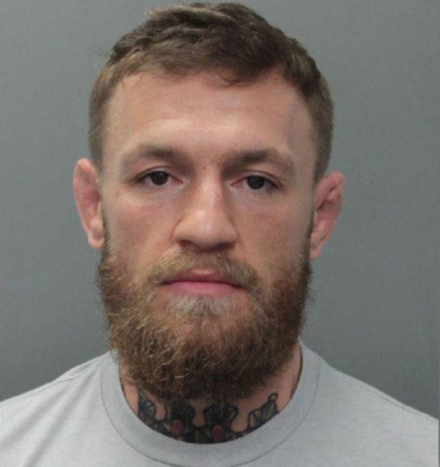 Arrested: The official booking photograph of UFC star Conor McGregor provided by Miami police