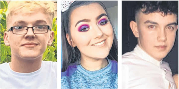 Lauren Bullock (17), Morgan Barnard (17) and Connor Currie (16) were killed in the tragedy