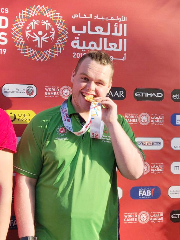 Medal glory: Oisin Feery (17). PIC by Cormac Rowe/Special Olympics Ireland