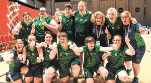 World beaters: Team Ireland's squad and officials celebrate after their 27-15 win to capture the basketball gold medal for asketball on Day Five of the 2019 Special Olympics World Games in the Abu Dhabi National Exhibition Centre. Picture: Sportsfile