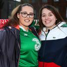 Kelly Wallace, from Kilbarrack, and Zoe Bailey, from Tallaght, at the Aviva Stadium. Photo: Steve Humphreys