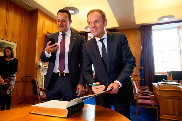 Taoiseach Leo Varadkar with EC president Donald Tusk. Picture: Getty
