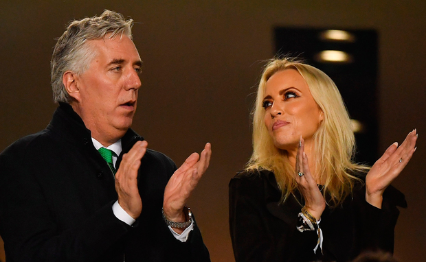 Controversy: John Delaney and his partner Emma English at the Aviva Stadium on Tuesday. Photo: Sportsfile