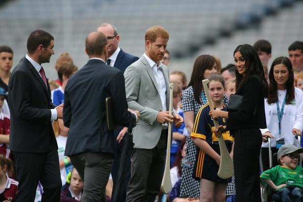 Prince Harry and Meghan, Duchess of Sussex, in Croke Park. Photo: Mark Condren