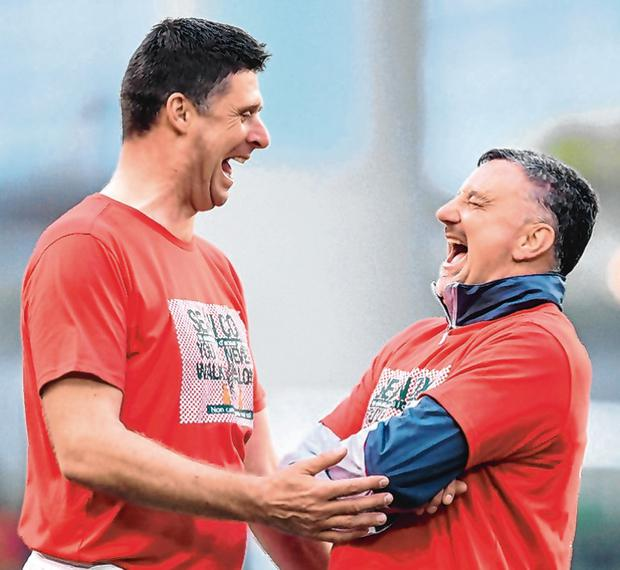 John Aldridge, right, of Liverpool FC Legends and Niall Quinn