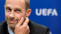 Associate: Uefa president Aleksander Ceferin is a close ally of John Delaney. Photo: FABRICE COFFRINI/AFP/Getty Images