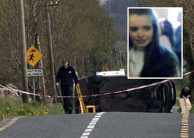 A garda at the scene of the accident near Ballinasloe, Co Galway Inset: Bridget Ward
