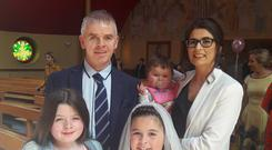 Pictured from left to right are Paul Dillon, his baby daughter Daisy, wife Emma, daughter Lilly and daughter Heidi at her communion.