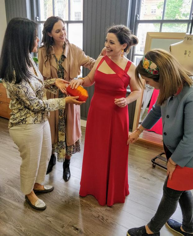 Final fitting: Catherine Fulvio tries on her outfit for the Daytime Emmys with designers Ale Walsh, Bláithín Ennis and Aideen Bodkin