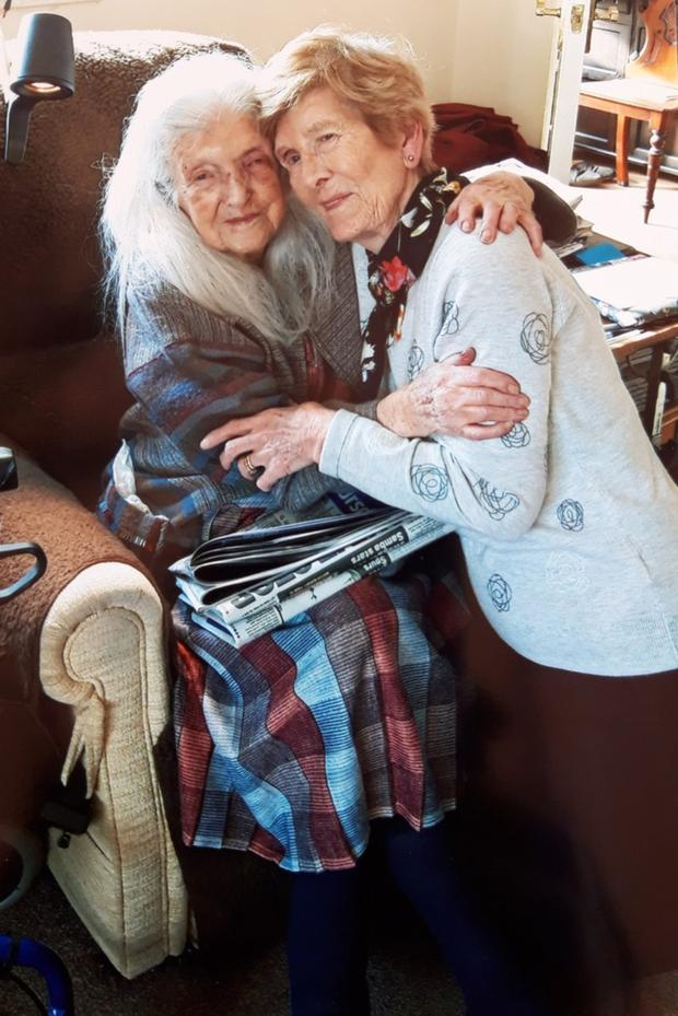 Emotional: Eileen Macken (82) with her mother Elizabeth, who will turn 104 tomorrow, after over 60 years of searching