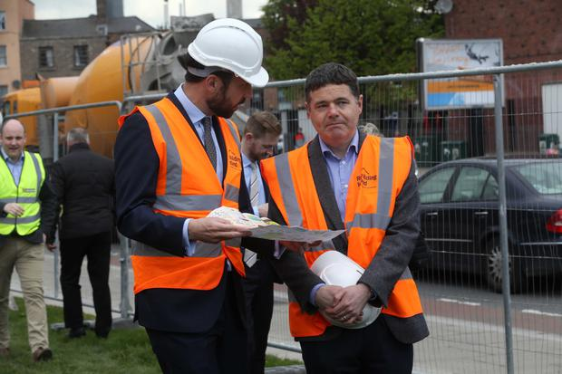 Ministers Eoghan Murphy and Paschal Donohoe at a sod-turning ceremony off North King Street, Dublin. Photo: Sam Boal/Rollingnews.ie