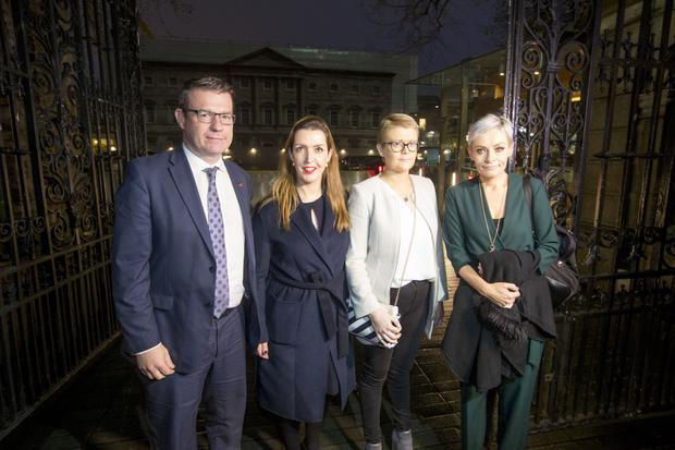 Meeting: Tracey Brennan (second from right) with Labour Party health spokesperson Alan Kelly, Vicky Phelan, and Aine Morgan (right) in December.
