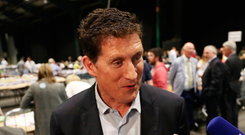 Green Party leader Eamon Ryan in the RDS. Photo: PA