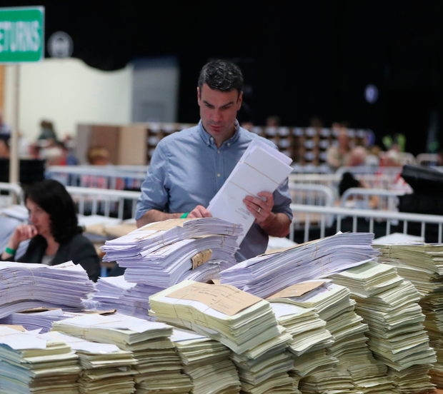 Sorting ballot papers in the RDS. Photo: PA