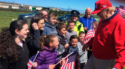 Pupils and teachers from Clohanes NS, along with local people, meeting US President Donald Trump at his golf resort in Doonbeg, Co Clare. Photo: PA