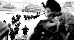 Allied forces storm the beaches on D-Day in 1944