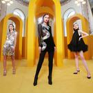 Donna Juric wears Paco Rabanne dress €2,250, Thalia Heffernan wears Balmain velvet black dress, €4,500, Maria Traynor wears 16 Arlington black feather trim mini dress €1,975