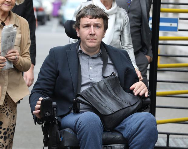 Regarded as 'high risk': Andrew Curtin uses a wheelchair after he fell from a multi-storey car park. PHOTO: COLLINS COURTS