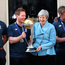 Eoin Morgan holds the Cricket World Cup trophy as he meets British Prime Minister Theresa May yesterday. Photo: PA