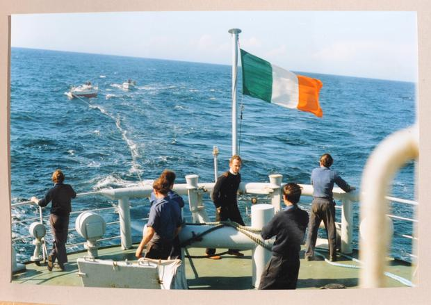 The Golden Apple being towed by the Irish Navy